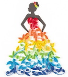 ^ Quilled Rainbow Dress