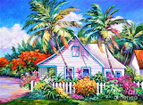 Caribbean Cottage with Picket Fence by John Clark