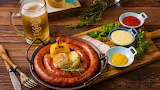 2020Food Meat and barbecue Homemade sausage with vegetables with