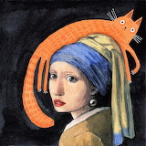 girl with a pearl and a cat