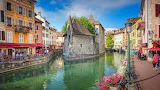 River, old town, buildings, people, tourism, Annecy, France
