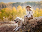 blonde girl with dog
