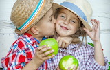 Joy, children, apples, kiss, hat, boy, girl