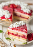 Strawberry shortcake torte