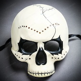 Halloween Skeleton Day of the Dead Skull Mask with Black Eyes -