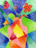 Abstract Vase & Flowers