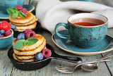 tea and delicious pancakes