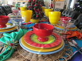 ^ Mexican Christmas tablescape dinnerware