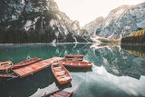 Boats in Lago Di Braies, Italia