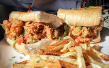 ^ Oyster Po' boy with fries