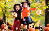 Autumn, joy, children, hat, girl, Halloween, pumpkin